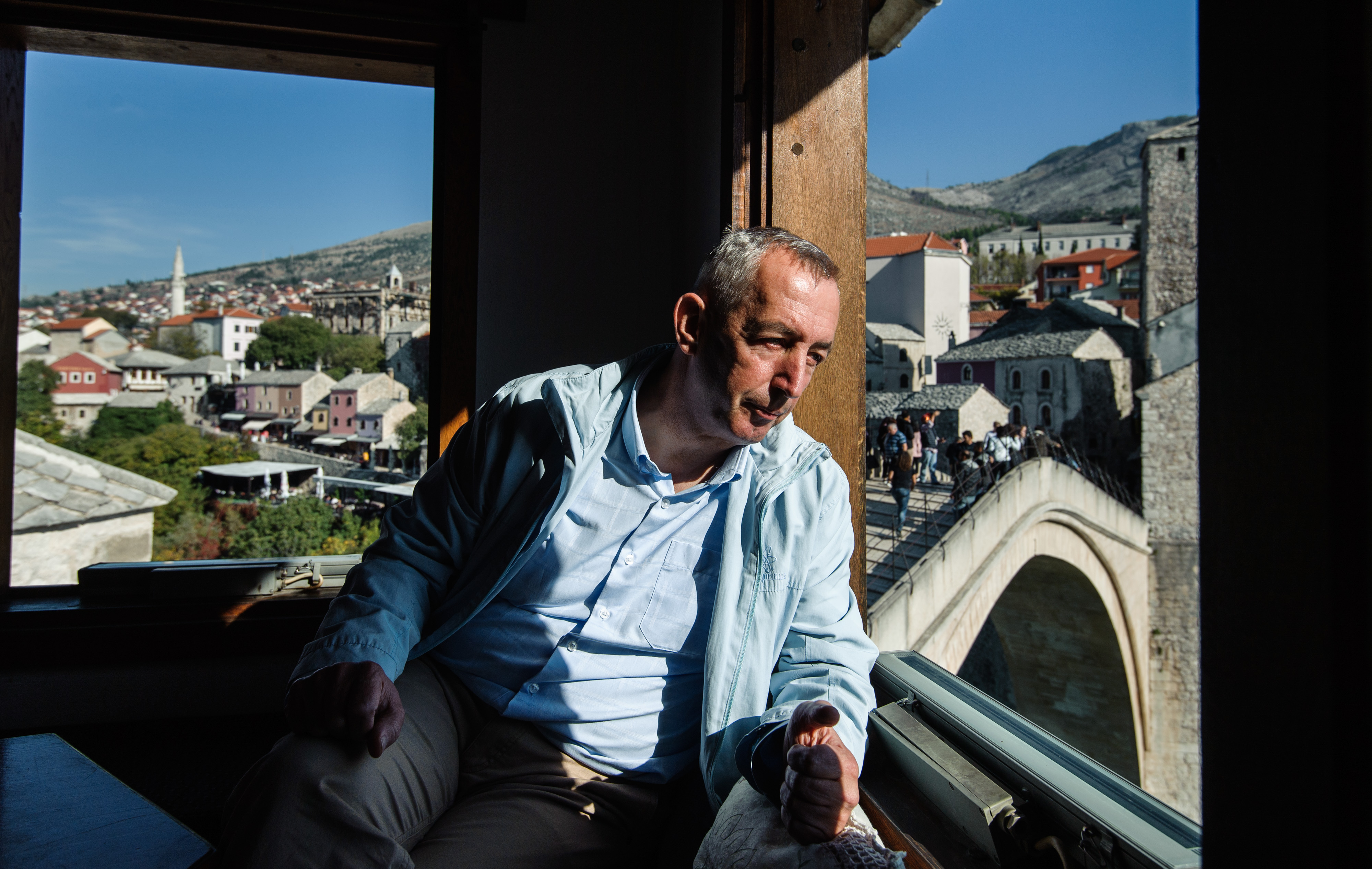 Hadis Brajevic posed in Cardak, over Old Bridge in Mostar