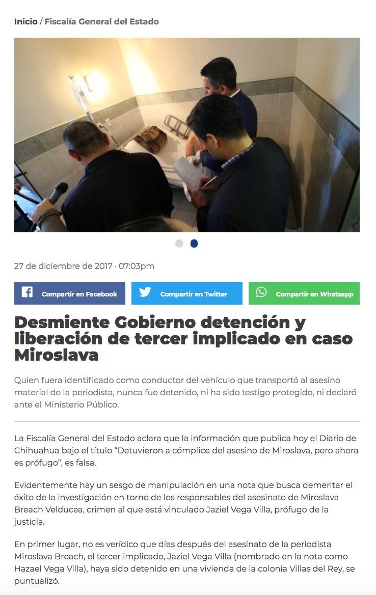18. Comunicado del Gobierno de Chihuahua