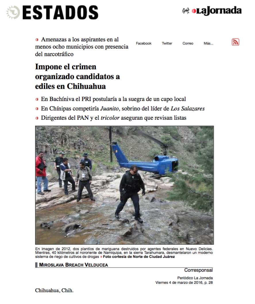 2. Impone el crimen organizado candidatos a ediles en Chihuahua. La Jornada