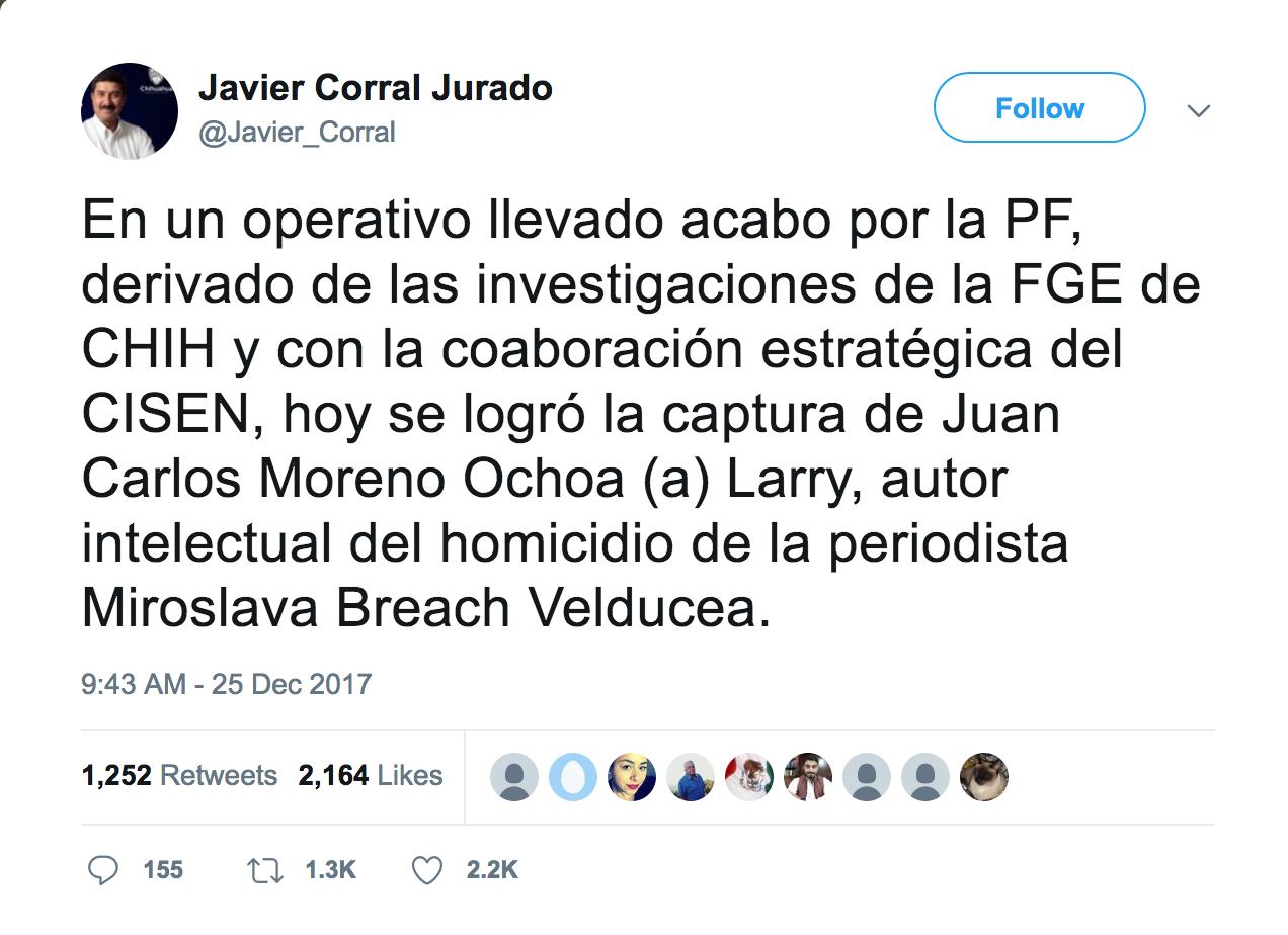 25. Tweet Javier Corral