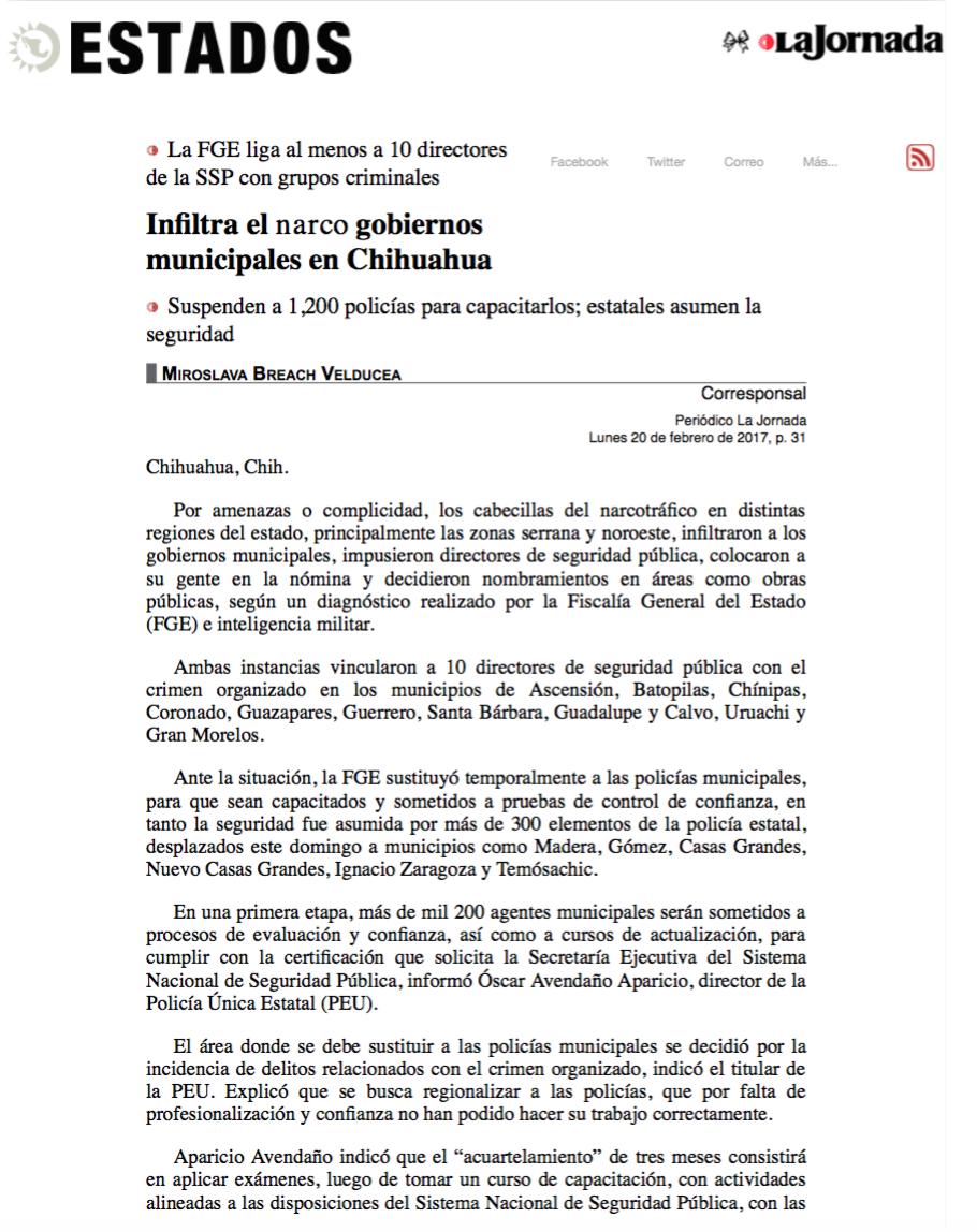 5. Infiltra el narco gobiernos municipales en Chihuahua