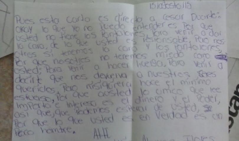 Carta dirigida al ex gobernador César Duarte, hoy detenido en EU. Fue escrita y leída por Vania Portillo y Keylyn Álamos en encuentro regional de 2015