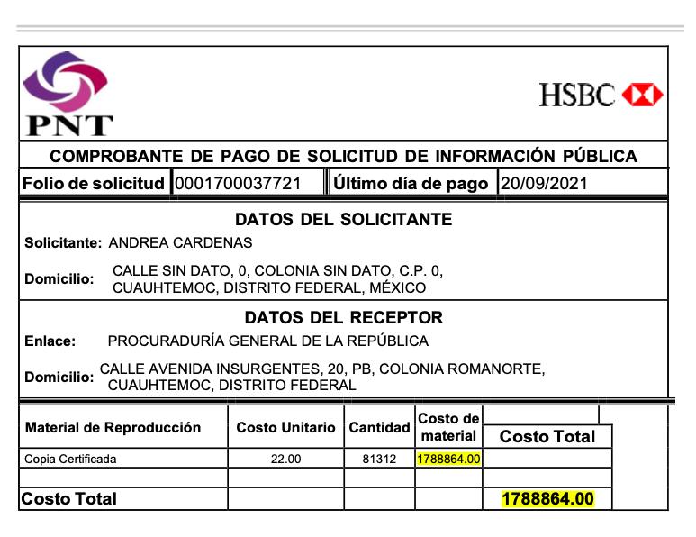 FGR solicitud transparencia pago Odebrecht